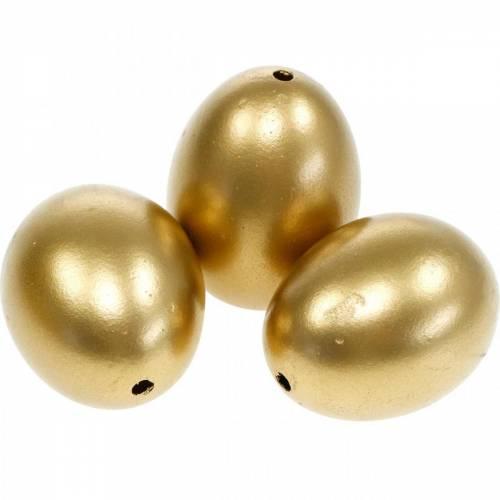 Jaja kurze Złote jajka dmuchane Dekoracje wielkanocne 12szt