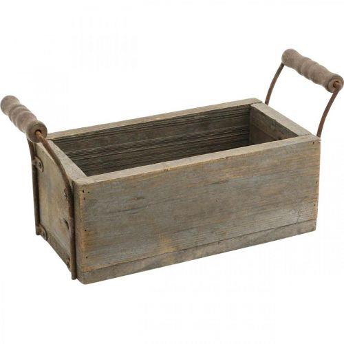 Planter, pudełko dekoracyjne, drewniane pudełko z uchwytami, pudełko rzemieślnicze Shabby Chic L25cm H10cm