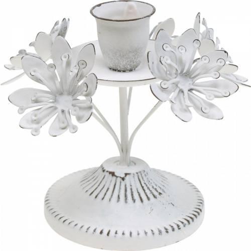 Dekoracja na świecę, wiosna, świecznik z kwiatami, metalowa dekoracja na ślub