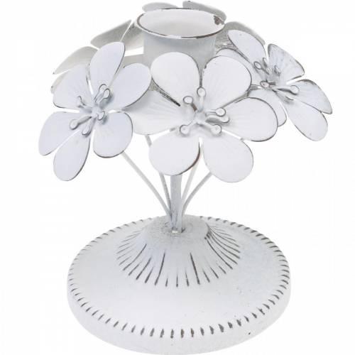 Dekoracja wiosenna, metalowy świecznik z kwiatami, dekoracja ślubna, świecznik, dekoracja stołu