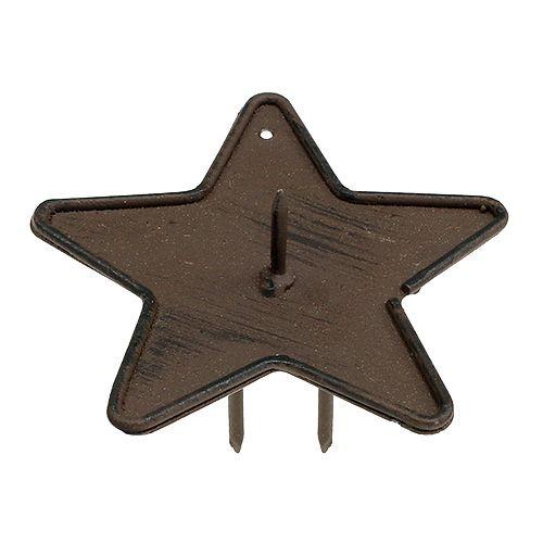 Świecznik Gwiazda na patyk 9cm Brązowy