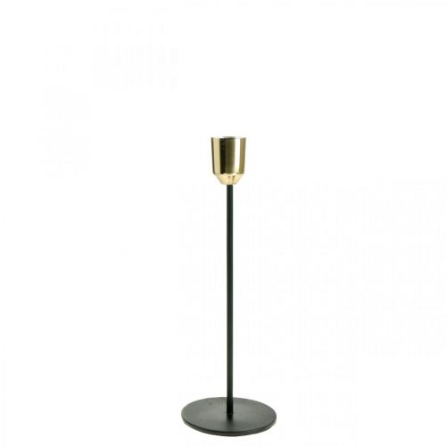 Świecznik metalowy, świecznik złoty / czarny H24,5cm Ø2,2cm