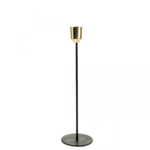 Świecznik złoty / czarny, świecznik metalowy H29cm Ø2,2cm