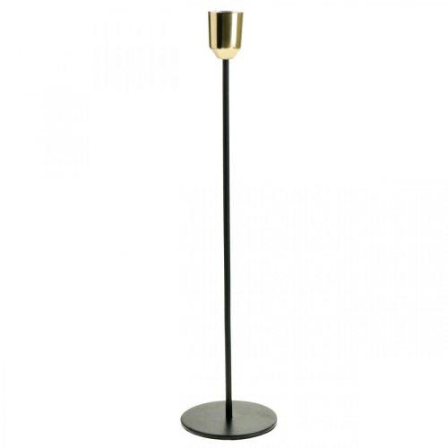 Świecznik, metalowy świecznik, złoty/czarny H33,5cm Ø2,2cm