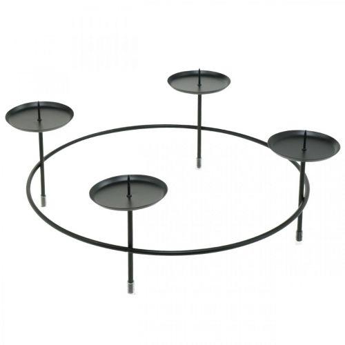 Świecznik na 4 świece czarny metalowy Ø34,5cm