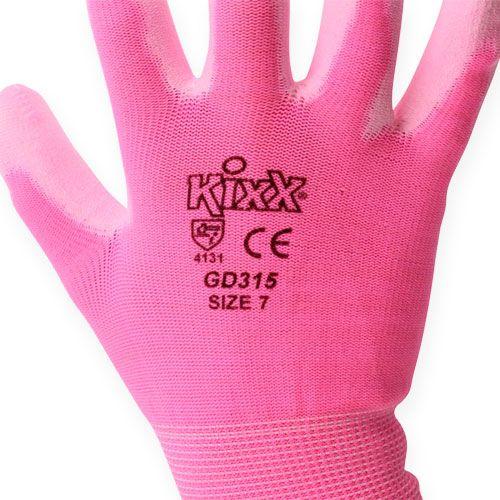 Rękawice ogrodnicze Kixx rozmiar 7 różowe, różowe