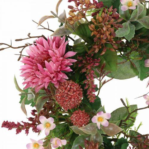 Jesienny Wianek Jedwabne Kwiaty Różowy Gerbera Oset Wianek Stołowy Ø32cm