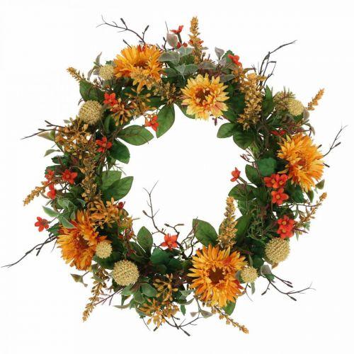 Wianek jesienny Jedwabne kwiaty żółte Gerbera oset Wieniec ścienny Ø42cm
