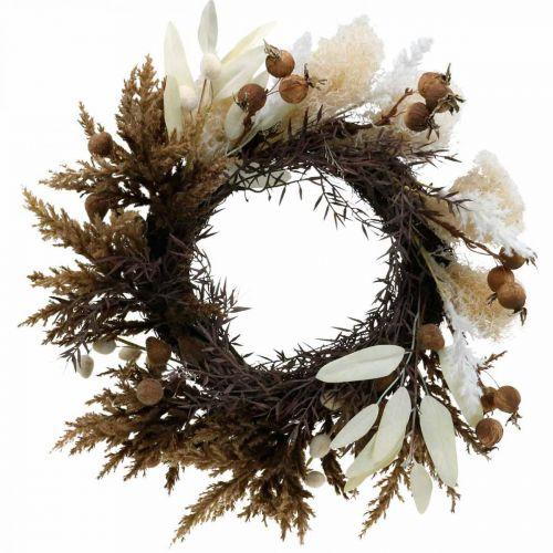 Wieniec dekoracyjny sztuczny suszone trawy i owoce wianek na drzwi Ø50cm