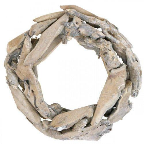 Wieniec drewniany Root Wood White Washed Deco Wieniec Ø30cm H8cm