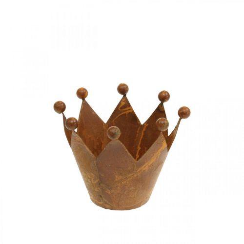 Lampion dekoracyjny, metalowa korona, Tea Light Holder, stal nierdzewna H6,5cm Ø4cm