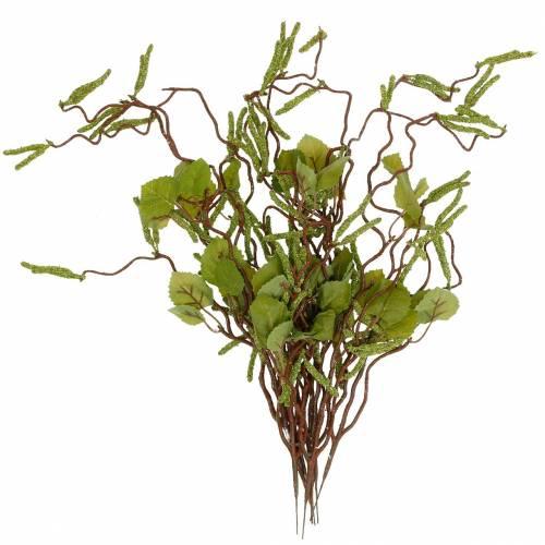 Sztuczna gałązka z baziami, bukiet brzozowej zieleni, słupek majowy 3szt