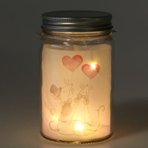 Lampion LED szklany Panna Młoda i Pan Młody myszki Ø8cm H14cm