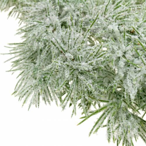 Wianek modrzewiowy z brokatem i śniegiem 160cm