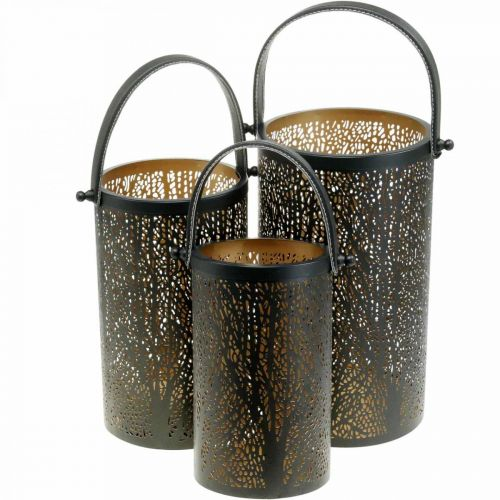 Lampion metalowy, lampion z drzewem, dekoracja jesienna, czarny, złoty Ø20/19/14cm H23,5/17/12,5cm