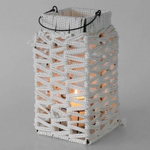 Lampion wiszący, dekoracja letnia, lampion, makrama H35,5cm W19cm