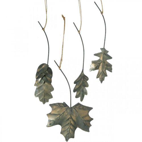 Liście metalowe do powieszenia antyczne szare liście jesienne 7,5-10cm 4szt.