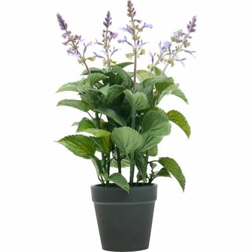 Sztuczna lawenda w doniczce, doniczka z lawendą, śródziemnomorska sztuczna roślina
