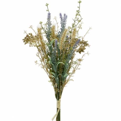 Sztuczny bukiet lawendy, jedwabne kwiaty, polny bukiet lawendy z kłosami pszenicy i słodyczy łąkowej