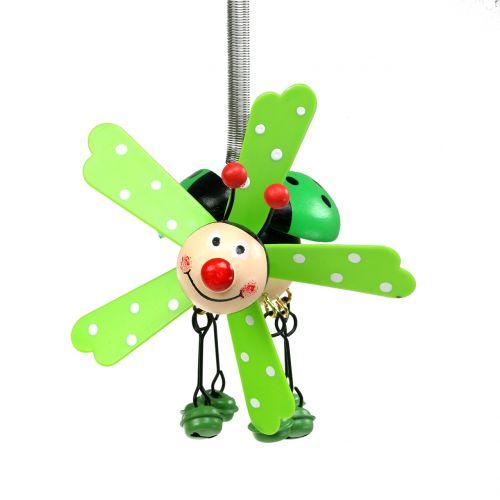 Gong wietrzny biedronka drewniany zielony 12cm