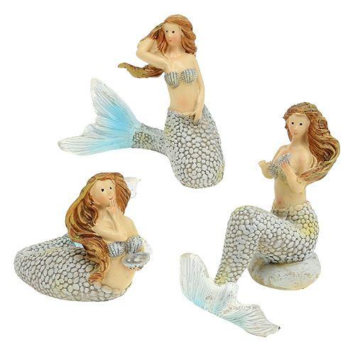Figura dekoracyjna syrenka niebieska 6cm - 9,5cm 3szt