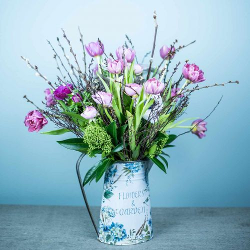 Doniczka Wazon Kwiaty Niebieski, Zielony Dekoracja Ogrodowa Planter Metal 23cm