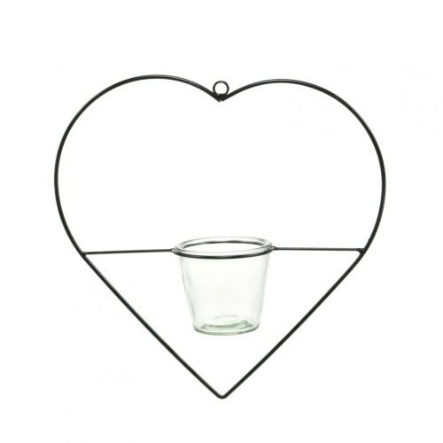 Lampion serce metal 28cm uchwyt na tealight do powieszenia szklany 9cm