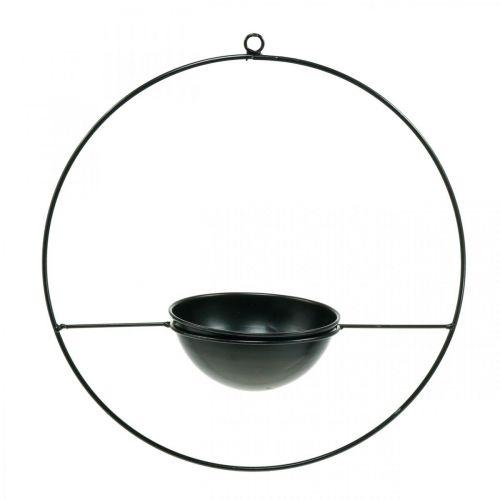 Doniczka wisząca czarna Metalowy pierścień Ø38cm z miską Ø15cm