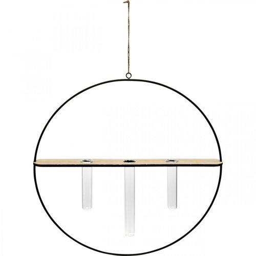Deco Pierścień do zawieszania kieliszków metalowy czarny Ø35cm