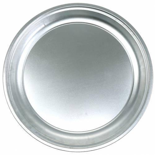 Metalowa płytka Basic Silver błyszcząca Ø45,5cm H4cm