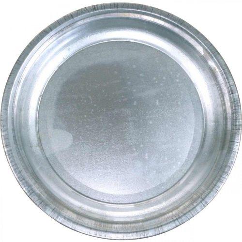 Talerz dekoracyjny, podstawka pod aranżację kwiatową, metalowa płytka srebrna, dekoracja stołu Ø26cm