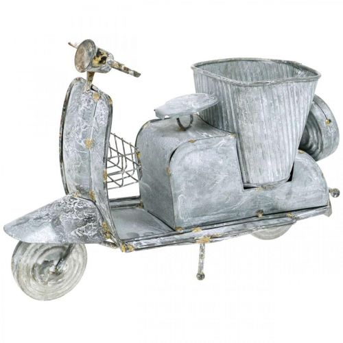 Flowerpot Scooter Metal Vintage White Washed 35×12×23cm