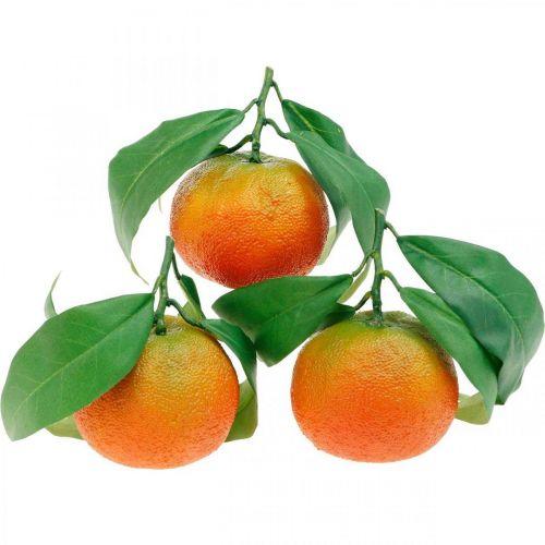 Owoce dekoracyjne, pomarańcze z liśćmi, owoce sztuczne H9cm Ø6,5cm 4szt.