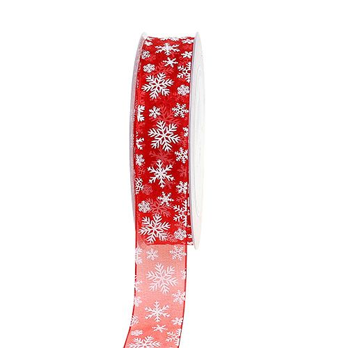 Wstążka organza świąteczna czerwona 25mm 20m