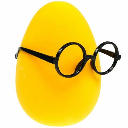 Pisanka żółta w okularach, jajko flokowane, dekoracja wielkanocna