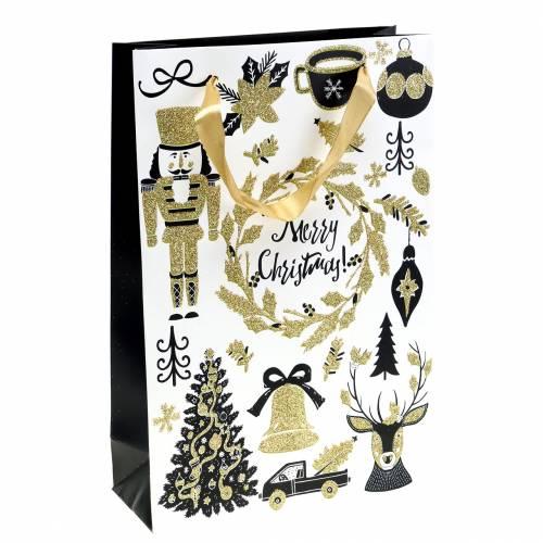 """Torba papierowa na prezenty """"Wesołych Świąt"""" złoty brokat H30cm 2szt."""