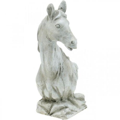 Popiersie głowy konia Figura dekoracyjna koń ceramiczny biały, szary H31cm