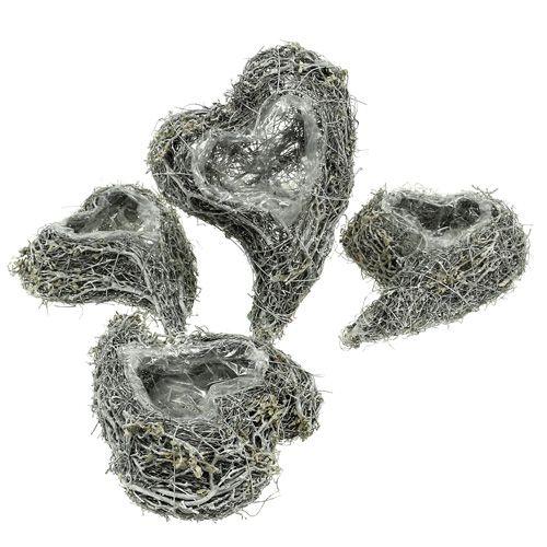 Serce roślinne winorośl 15cm x 23cm x5cm białe 4szt
