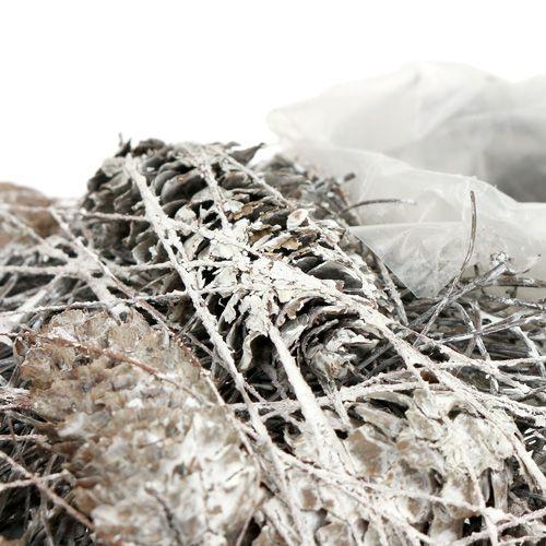 Serce roślinne stożek 20x20cm białe 3szt.