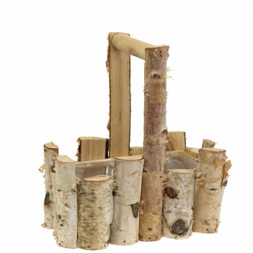 Kosz na rośliny z gałęzi brzozowych z rączką 24x14,5cm H25,5cm