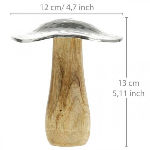 Deco Grzyb Metal Drewno Srebro, Natura Jesień Dekoracja 13cm