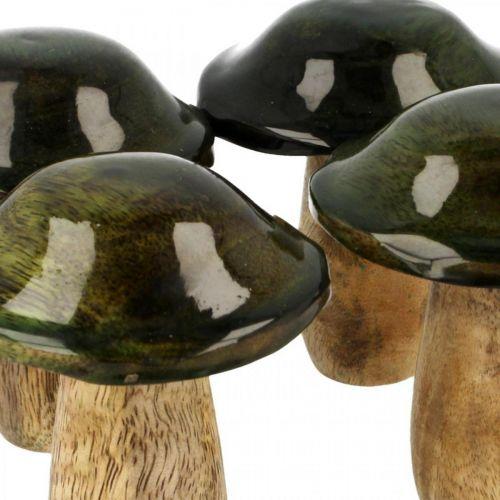 Grzybek Mango Wood Green Dekoracja Stołu Jesień Ø7cm H9cm 4szt.