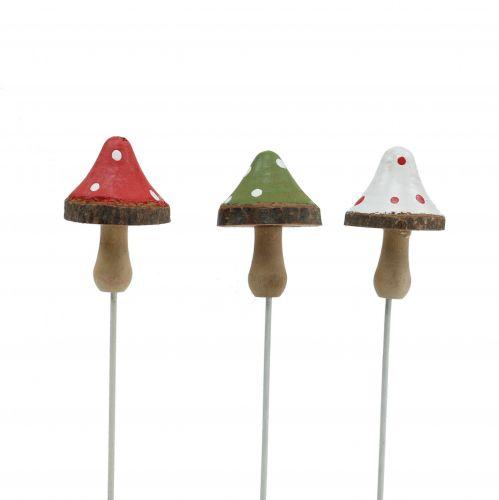 Drewniane grzyby położyć kolorowe różne 4cm 12szt
