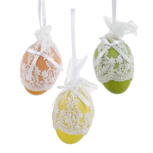Plastikowe ozdobne jajka z tiulem do zawieszania 6cm 6szt