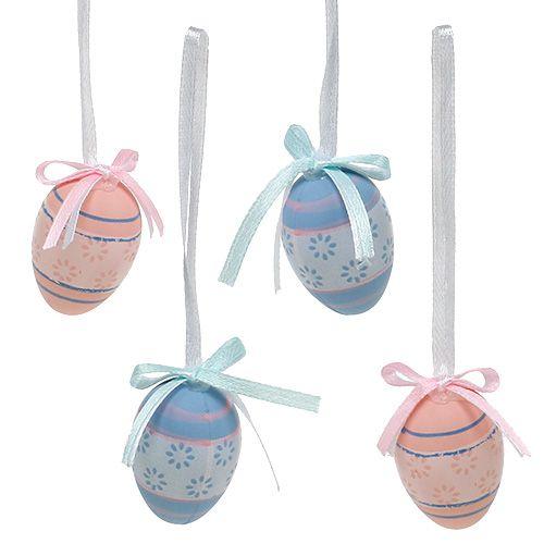 Jajka plastikowe do zawieszenia 4cm niebiesko-różowa mieszanka 36szt