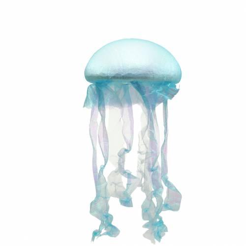 Meduza dekoracyjna do powieszenia Niebieska mieniąca się z lampką LED Ø26 H65cm