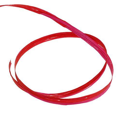 Raffia bicolor czerwono-różowa 200m