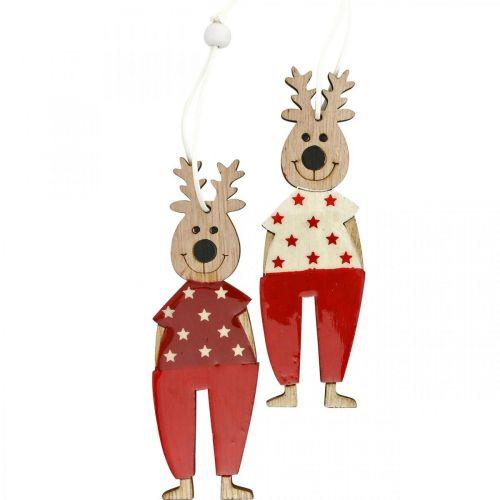 Renifer do zawieszenia, ozdoba świąteczna, ozdoba choinkowa, drewniana dekoracja na Adwent H13cm 8szt.
