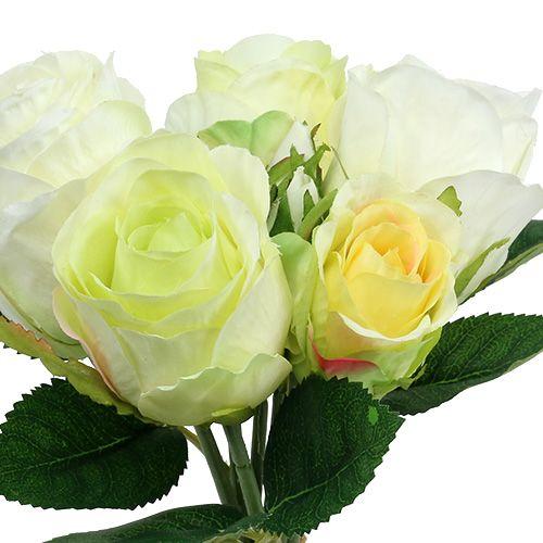 Wiązanka różana Biało-zielona Ø15cm L25cm