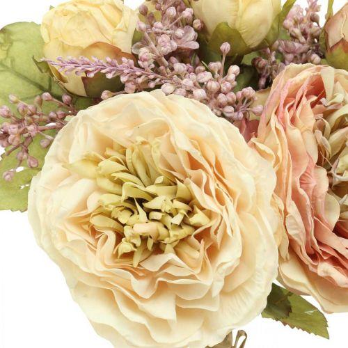 Róże Sztuczne kwiaty w wiązance Jesienny bukiet kremowy, różowy H36cm